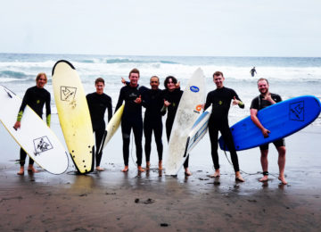 Surf course group at the sandy beach