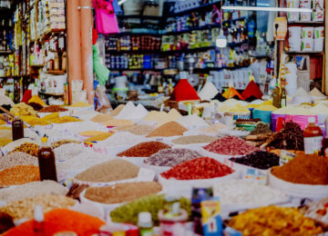 Spices at the stand on the market