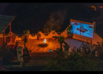 Outdoor surf cinema and atmospheric fire