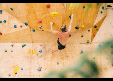 The climber on the climbing wall