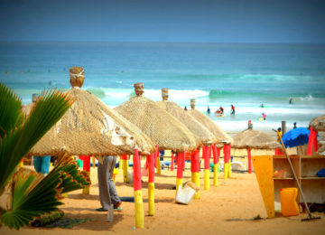 Beach with typical parasols in Senegal
