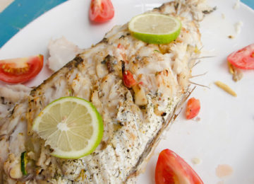 Grilled fish in a plate