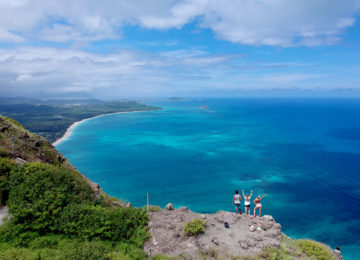 Hike overlooking the coast of Oahu