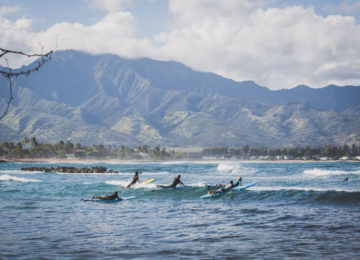 Hawaii surf spot with mountain scenery
