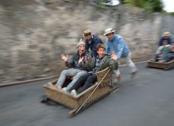 Lachende Jungen in einer Schubkarre