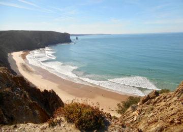 Arrifana Surf beach with waves