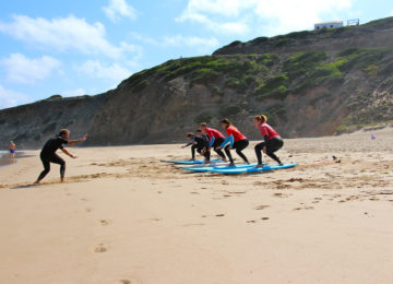 Surf course Exercise on the beach