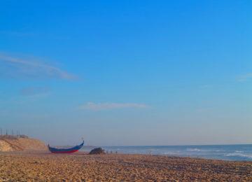 Sandy beach with sea