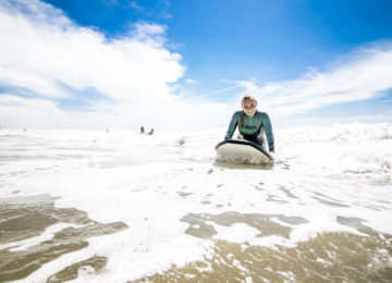 Beginner on the surfboard