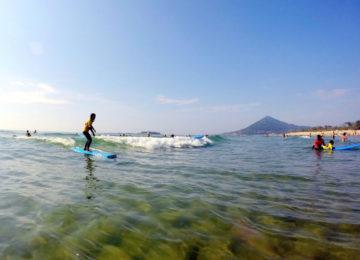 Beginner auf dem Surfbrett