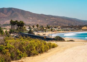 Zug mit Strand und Hügel im Hintergrund