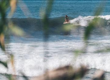 Surferin auf Longboard
