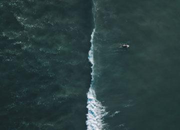 Vogelperspektive auf Surfer