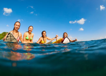 Surfergirls in lineup at Wollongong
