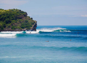 Perfect left waves at Padang Padang in Bali