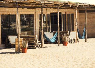 Hammocks in front of the bungalows