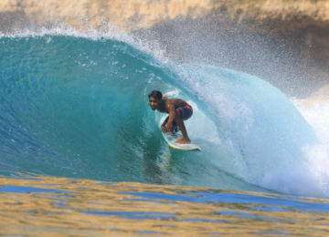 Lombok Local Surfer in Barrel