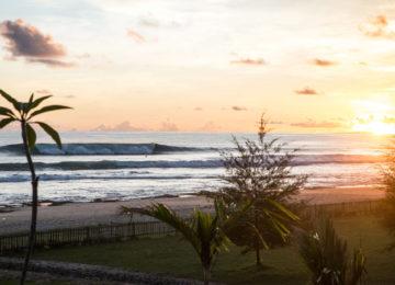 Blick auf den Homespot bei Sonnenuntergang