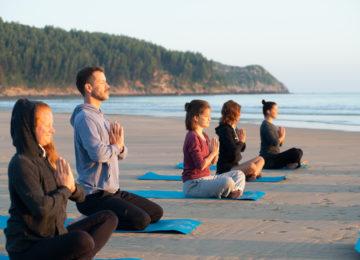 Yoga on the sandy beach