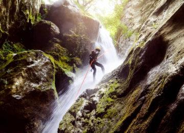 Canyoning at a waterfall