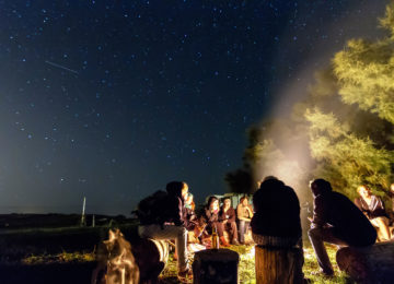 People at night by the campfire