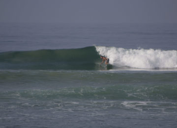 Surfer in Rechtswelle bei Ahangama