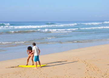 Surf coaching on the beach