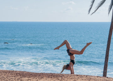 Yoga on the beach in southern Sri Lanka