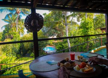 Beim Frühstück mit Blick auf den Garten