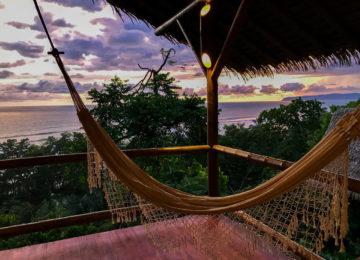 Hammock overlooking the sea and sunset