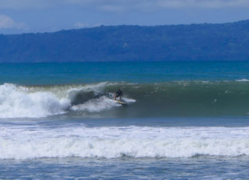 Surfers on wave in Pavones