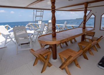 Dining table on the outside deck