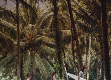 Surfer mit Boards im Mentawai Dschungel