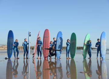 Surf course group on the beach