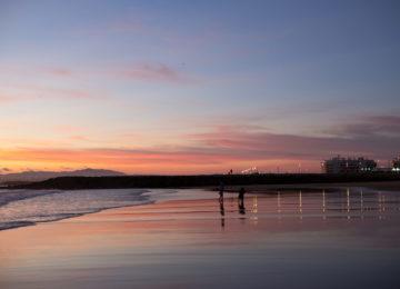 Sunset on the beach of Lisbon