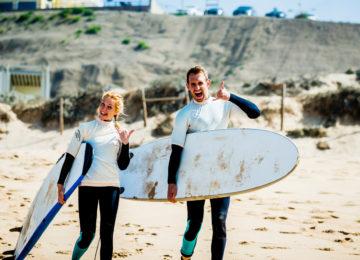 Happy surfers